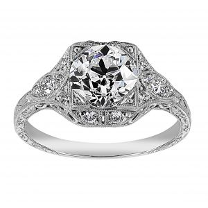 Single Stone Brigette Vintage Diamond Engagement Ring