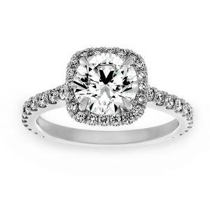 Forevermark Round Diamond Cushion Halo Diamond Engagement Ring