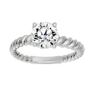 TWO by London Round Diamond Solitaire Twist Engagement Ring