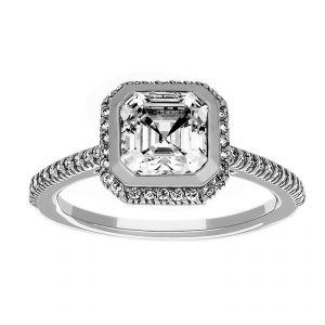 Ritani Square Radiant Halo Asscher Cut Diamond Engagement Ring