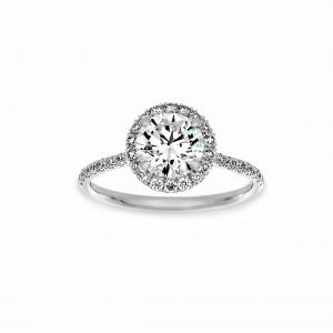 Norman Silverman Round Diamond Micro-Pave Halo Engagement Ring