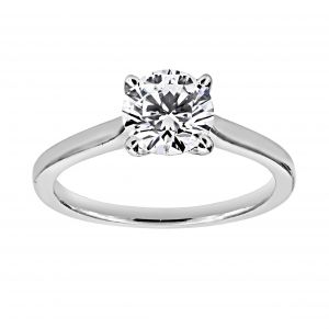TWO by London Round Diamond Solitaire Flat Classic Engagement Ring