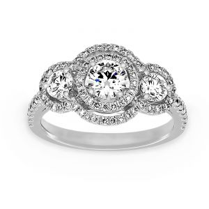 TWO by London Three Stone Round Diamond Double Diamond Halo Engagement Ring