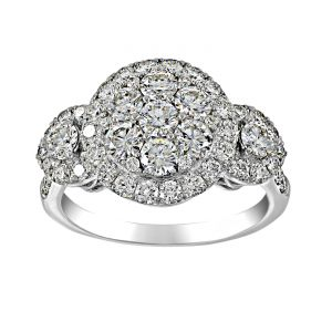 TWO by London Three Stone Diamond Cluster Engagement Ring