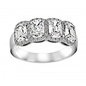 Henri Daussi Four Stone Cushion Diamond Halo Ring