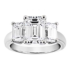 TWO by London Three Stone Emerald Cut Diamond Engagement Ring