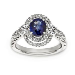TWO by London Oval Blue Sapphire Double Halo Engagement Ring