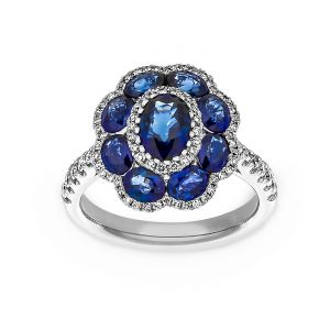 TWO by London Blue Sapphire Diamond Flower Halo Engagement Ring