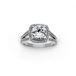 Ritani Pave Diamond Split Shank DIamond Engagement Ring