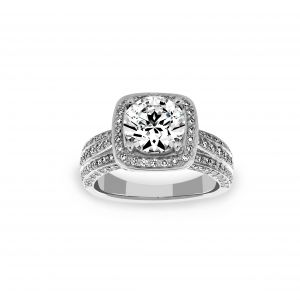 Ritani Round Cushion Halo Three Row Diamond Engagement Ring