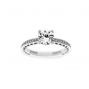 Ritani Round Micro-Pave Diamond Channel Set Engagement Ring
