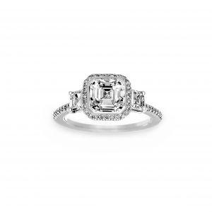 Ritani Three Stone Pave Diamond Halo Engagement Ring