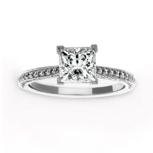 Michael B. Three Sided Pave Princess Solitaire Engagement Ring