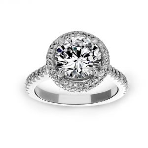 Michael B. Quintessa Round Micro-Pave Diamond Halo Engagement Ring