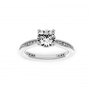 Ritani Round Diamond Tapered Channel Set Engagement Ring