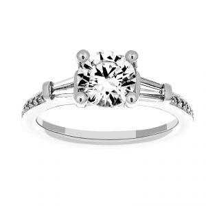 Ritani Three Stone Round Diamond Tapered Baguette Engagement Ring