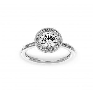 Ritani Round Diamond Halo Channel Set Engagement Ring