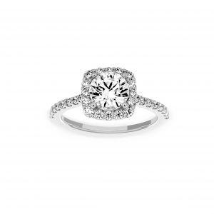 Ritani Cushion Shape Diamond Halo Micro-Pave Engagement Ring