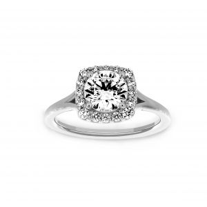 Ritani Round Four Prong Halo Split Shank Engagement Ring