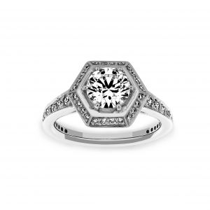 Ritani Hexagon Halo Round Diamond Engagement Ring