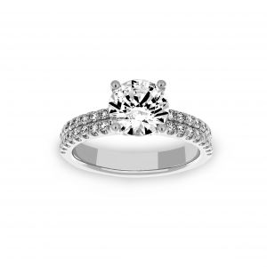 Ritani Round Solitaire Two Row Micro-Pave Diamond Engagement Ring