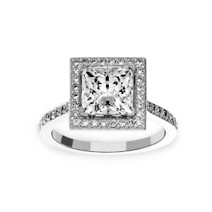 Michael B. Touch Of Trois Princess Halo Engagement Ring