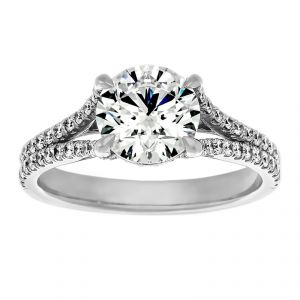 TWO by London Round Pave Split Shank Engagement Ring