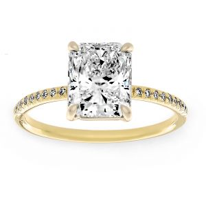 TWO By London Thin Pave Radiant Diamond Solitaire Engagement Ring