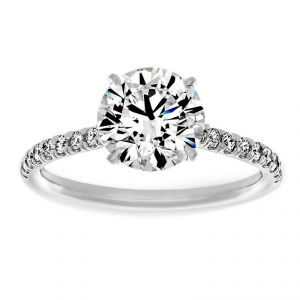 TWO by London Thin Pave Round Diamond Solitaire Engagement Ring