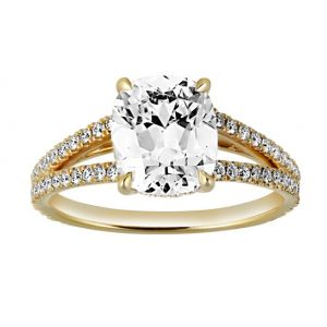 TWO by London Cushion Diamond Pave Split Shank Engagement Ring