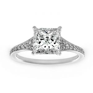 TWO by London Princess Cut And Pave Diamond Engagement Ring