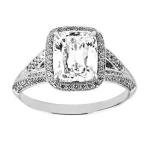 TWO by London Cushion Diamond Halo Split Shank Engagement Ring