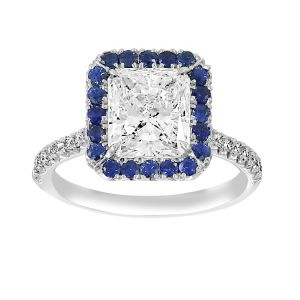 TWO by London Radiant Diamond Blue Sapphire Halo Engagement Ring
