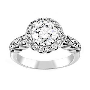 TWO by London Round Diamond Heart Shaped Pave Halo Engagement Ring