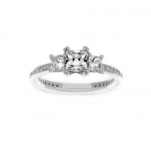 Ritani Princess Cut Three Stone Micro-Pave Diamond Engagement Ring