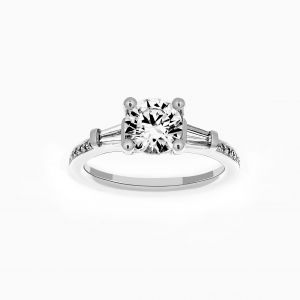 Ritani Three Stone Round Diamond Tapered Baguette Pave Engagement Ring