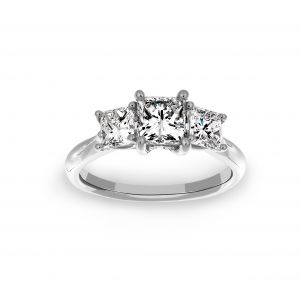 Ritani Princess Cut Diamond Three Stone  Engagement Ring