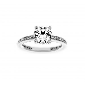 Ritani Round Micro-Pave Channel Set Diamond Engagement Ring