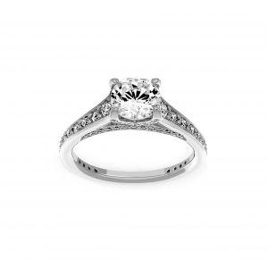 Ritani Round Diamond Micro-Pave Channel Set Engagement Ring