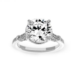 Michael B. Florence Pave Solitaire Engagement Ring