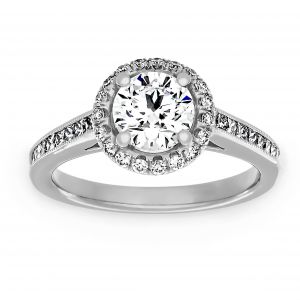 TWO by London Round Diamond Halo Channel Set Engagement Ring