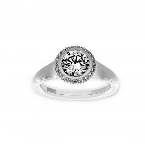 Ritani Round Bezel Set Pave Halo Engagement Ring