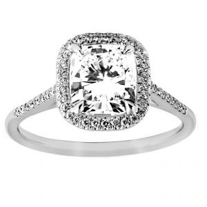 TWO by London Thin Pave Cushion Diamond Halo Engagement Ring