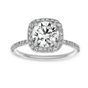 TWO by London Square Halo Round Diamond Pavé Thin Engagement Ring