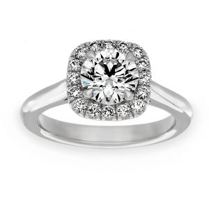 TWO by London Square Halo Round Diamond Tapered Solitaire Engagement Ring