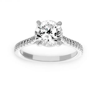 Michael B. Paris Pave Diamond Solitaire Engagement Ring