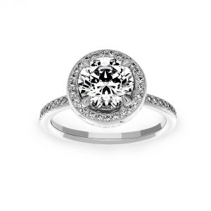 Michael B. Petite Quintessa Round Micro-Pave Diamond Halo Engagement Ring