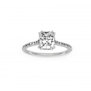 Norman Silverman Cushion Diamond French Pave Engagement Ring