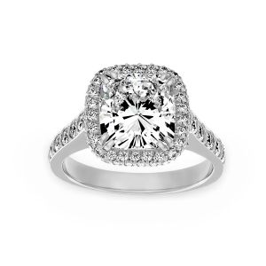 Harry Kotlar Square Cushion Double 4 Prong Pavé Diamond Halo Engagement Ring