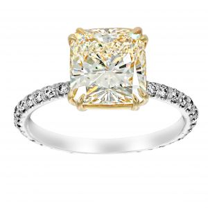 TWO by London Thin Pave Diamond Solitaire Eternity Engagement Ring